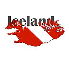 Iceland Diving Diver Flag Map Photographic Print