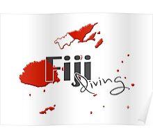 Fiji Islands Diving Diver Flag Map Poster