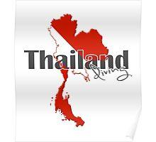 Thailand Diving Diver Flag Map Poster