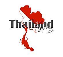 Thailand Diving Diver Flag Map Photographic Print