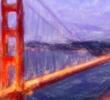 Golden Gate Bridge--Mixed Media Painting Sticker