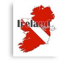 Ireland Diving Diver Flag Map Canvas Print