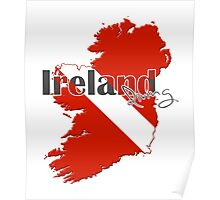 Ireland Diving Diver Flag Map Poster