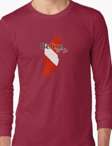 Belize Diving Diver Flag Map Long Sleeve T-Shirt