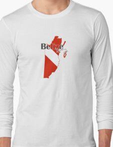 Belize Diving Diver Flag Map Long Sleeve T-Shirt