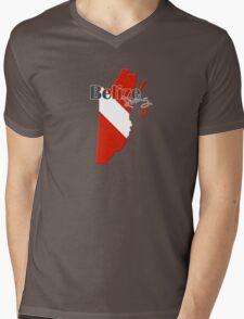 Belize Diving Diver Flag Map Mens V-Neck T-Shirt