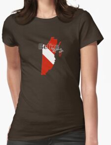Belize Diving Diver Flag Map Womens Fitted T-Shirt