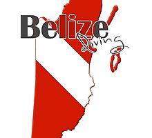 Belize Diving Diver Flag Map by surgedesigns