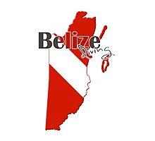 Belize Diving Diver Flag Map Photographic Print