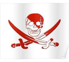 Scuba Diving Pirate Skull and Swords Poster