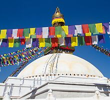 Stupa and Prayer Flags in Boudhanath, Kathmandu by journeysincolor