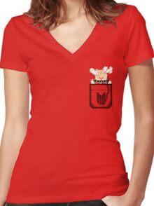 Pocket Titan Women's Fitted V-Neck T-Shirt