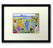 En Plein air... or pesky sticky beaks , or , It won't win the Archibald though will it! Framed Print