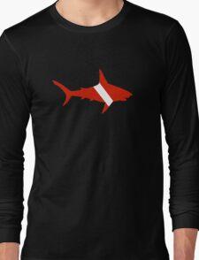 Shark Scuba Diver Silhouette Long Sleeve T-Shirt