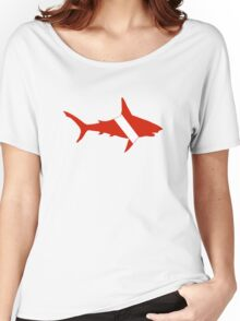 Shark Scuba Diver Silhouette Women's Relaxed Fit T-Shirt