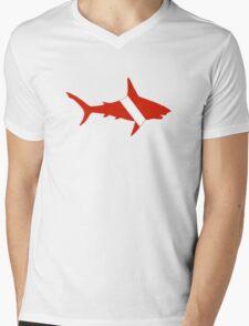 Shark Scuba Diver Silhouette Mens V-Neck T-Shirt