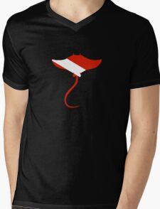 Stingray Scuba Diver Silhouette Mens V-Neck T-Shirt