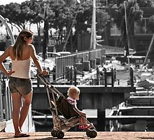 Mother and child in the harbour by awefaul