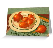 Plate with onions Greeting Card