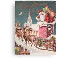 Santa Clause at the Chimney Canvas Print