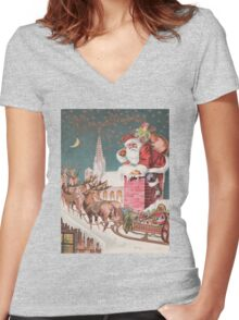 Santa Clause at the Chimney Women's Fitted V-Neck T-Shirt
