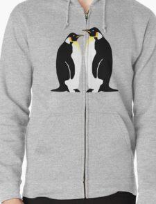 2 penguins Zipped Hoodie
