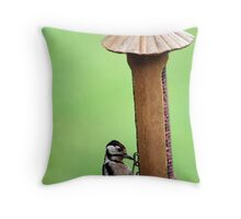 Thieving Woodpecker Throw Pillow