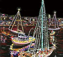 Newport Beach Christmas Boat Parade by ArtbyLeclerc