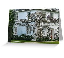 Purple Wisteria Tree on English Country House Greeting Card