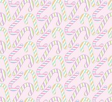 Pink Pastel Christmas Candy Cane by PatternPrint