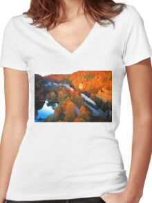 N&W #611 Thru The Nemo Tunnels  -  Nemo, TN Women's Fitted V-Neck T-Shirt