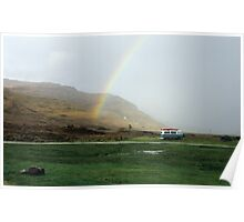 Rainbow at Campsite Poster