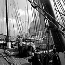 TALL MASTED WOODEN YACHT IN GIBRALTAR by kfbphoto