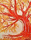 Red Tree ala Fauve by Scott Johnson