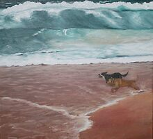 Lloydie and Boof at Bermagui by Glenda Jones