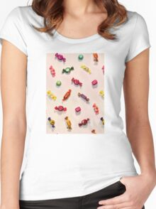 Sweet Candy Painted Pattern Women's Fitted Scoop T-Shirt