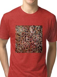 Circles. Acrylic on canvas embossed paper. Warm colours Tri-blend T-Shirt