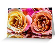 Pink & Yellow Bloom's Rose Reflection Greeting Card