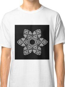 White flower on black Classic T-Shirt