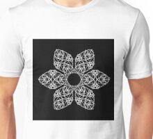 White flower on black Unisex T-Shirt