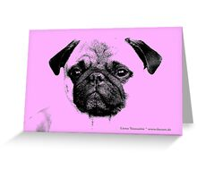 mops puppy baby pink Greeting Card