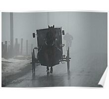 Amish Buggy In The Winter Fog Poster