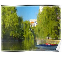 Park, lake with a boat Poster