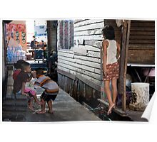 Thai children in a slum in Bangkok Poster