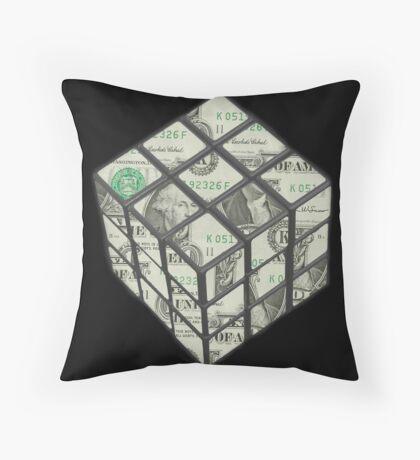 rubix cube dollar Throw Pillow