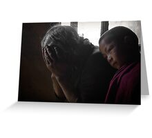 A Tibetan woman and a young monk . Greeting Card