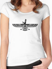 Faravahar, Winged Sun, Symbol Of Higher Spirit Women's Fitted Scoop T-Shirt