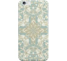 Soft Sage & Cream hand drawn floral pattern iPhone Case/Skin