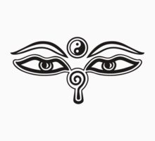 Eyes of Buddha, Yin Yang, Symbol Wisdom & Enlightenment by nitty-gritty