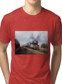 Steam Train Digital Painting / Locomotive Print Tri-blend T-Shirt